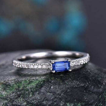1.25 Carat Baguette Tanzanite Half Eternity Engagement Ring in White Gold