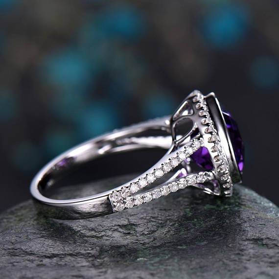 2.50 Carat Heart Shape Amethyst and Diamond Split Shank Engagement Ring in White Gold