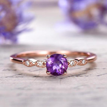 1.25 Carat Round Amethyst and Diamond Engagement Ring Antique February Birthstone Rose Gold