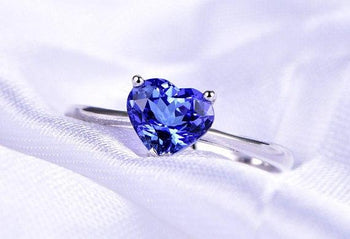 1 Carat Heart Shaped Tanzanite Filigree Engagement Ring in White Gold