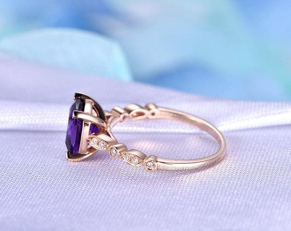 1.25 Carat Cushion Amethyst and Diamond Art Deco Engagement Ring in Rose Gold