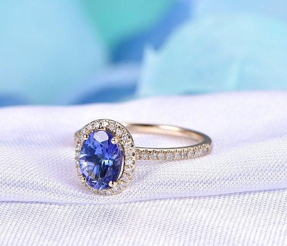 1.50 Carat Halo Oval Cut Tanzanite Diamond Half Infinity Engagement Rings in Yellow Gold