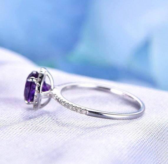 1.25 Carat Round Amethyst and Diamond Halo Engagement Ring in White Gold