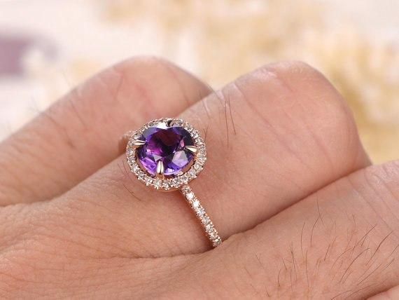 1.25 Carat Round Amethyst and Diamond Halo Migraine Engagement Ring in Rose Gold