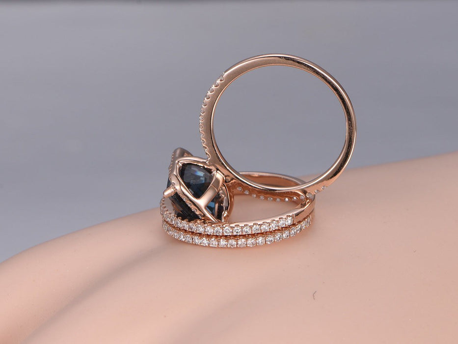 2 Carat Emerald Cut London Blue Topaz and Diamond Halo Half Eternity Trio Ring Set in Rose Gold
