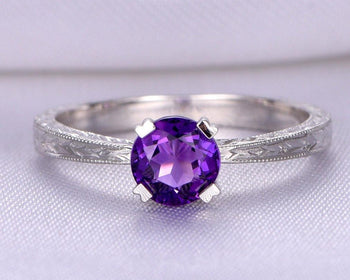 1.25 Carat Round Amethyst Solitaire Migraine Engagement Ring in White Gold