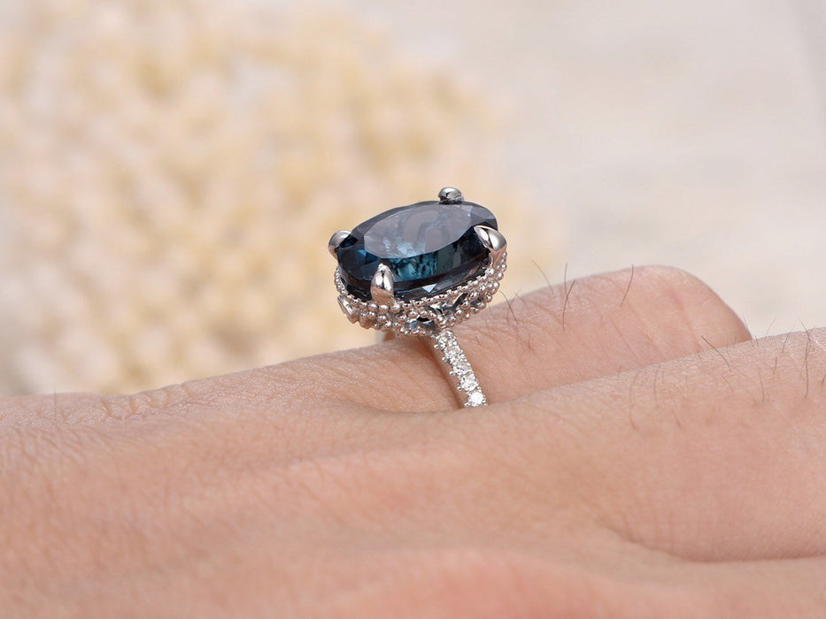 1.50 Carat Oval Cut London Blue Topaz and Diamond Claw Prong Engagement Ring in White Gold