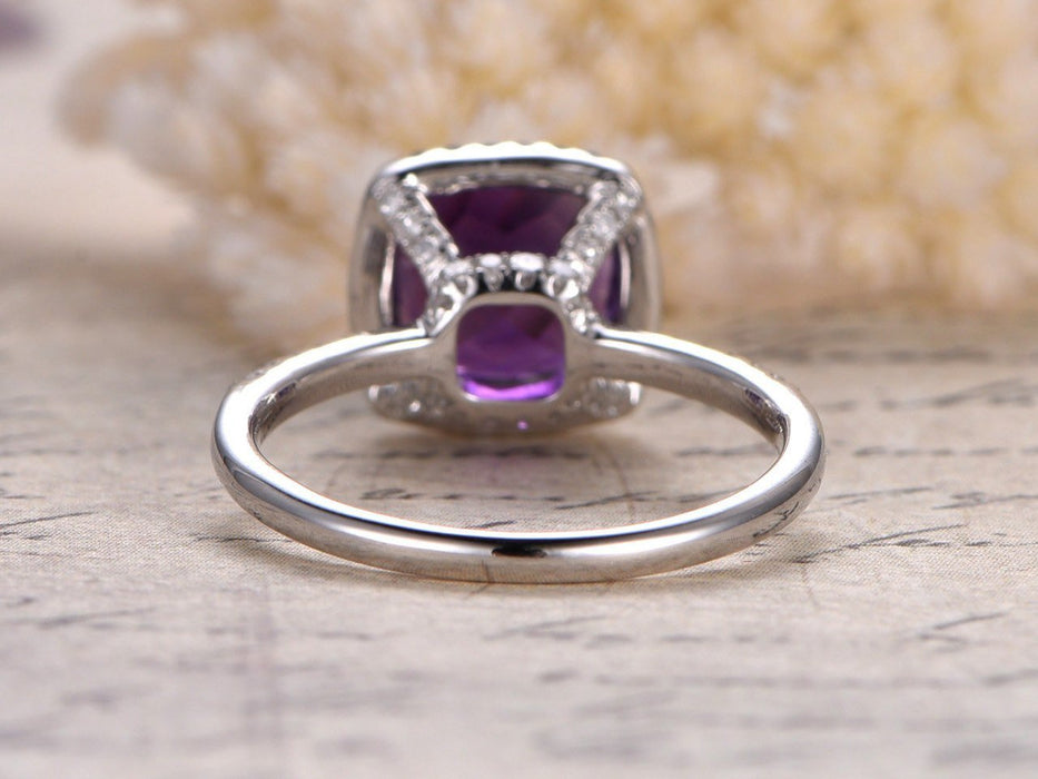 1.50 Carat Cushion Amethyst and Diamond Halo Engagement Ring in White Gold