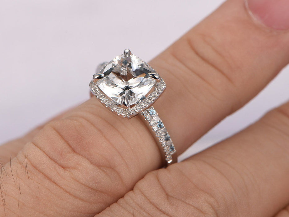 2 Carat Cushion White Topaz and Diamond Wedding Ring Set in White Gold