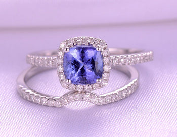 1.50 Carat Halo Cushion Cut Tanzanite and Diamond Half Infinity Wedding Ring Sets in White GoldGold