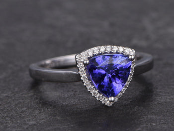 1.25 Carat Trillion Cut Tanzanite Diamond Halo Engagement Ring in White Gold