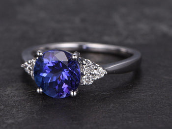 1.50 Carat Round Cut Tanzanite Diamond Ball Prong Engagement Ring in White Gold