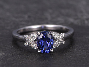 1.25 Carat Oval Cut Tanzanite Diamond Butterfly Engagement Ring in White Gold