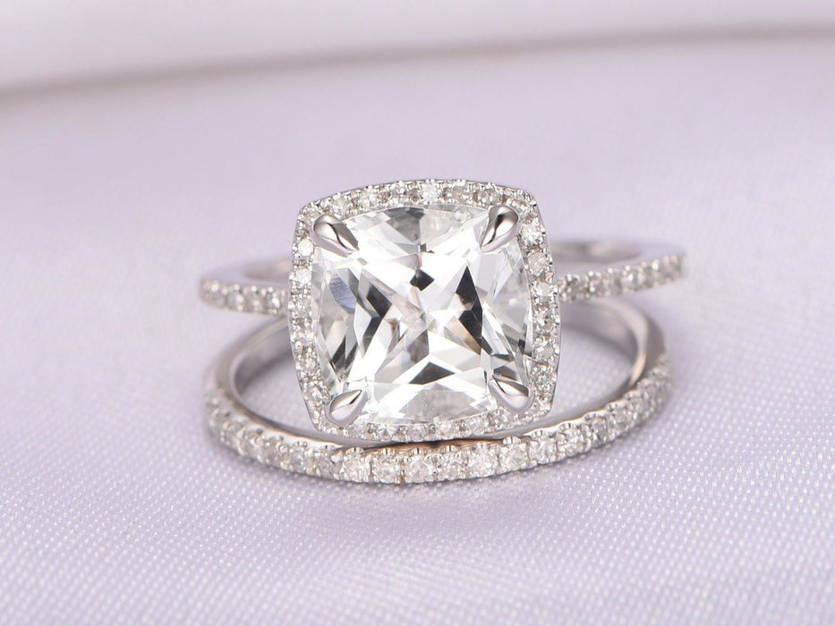 2 Carat Cushion White Topaz and Diamond Halo Claw Prong Wedding Ring Set in White Gold