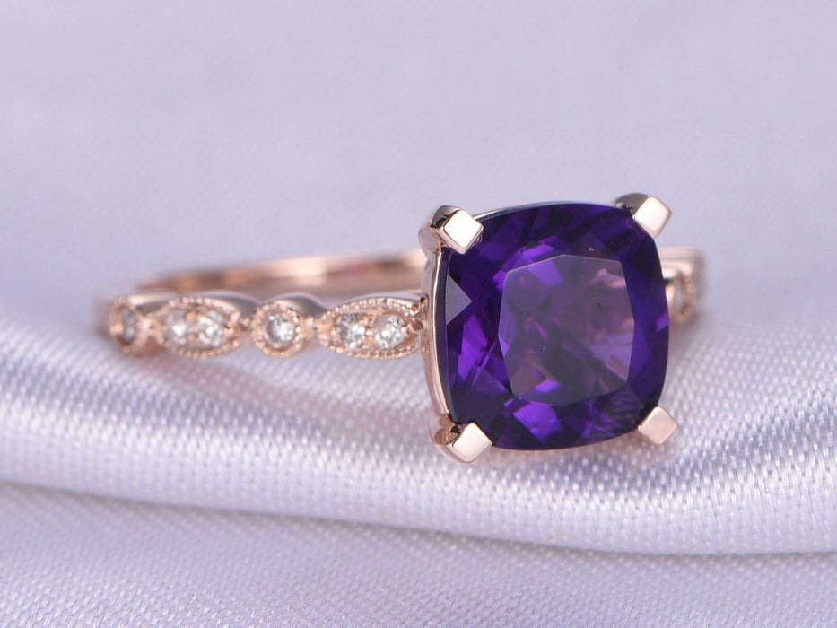 1.50 Carat Cushion Amethyst and Diamond Art Deco Engagement Ring in Rose Gold