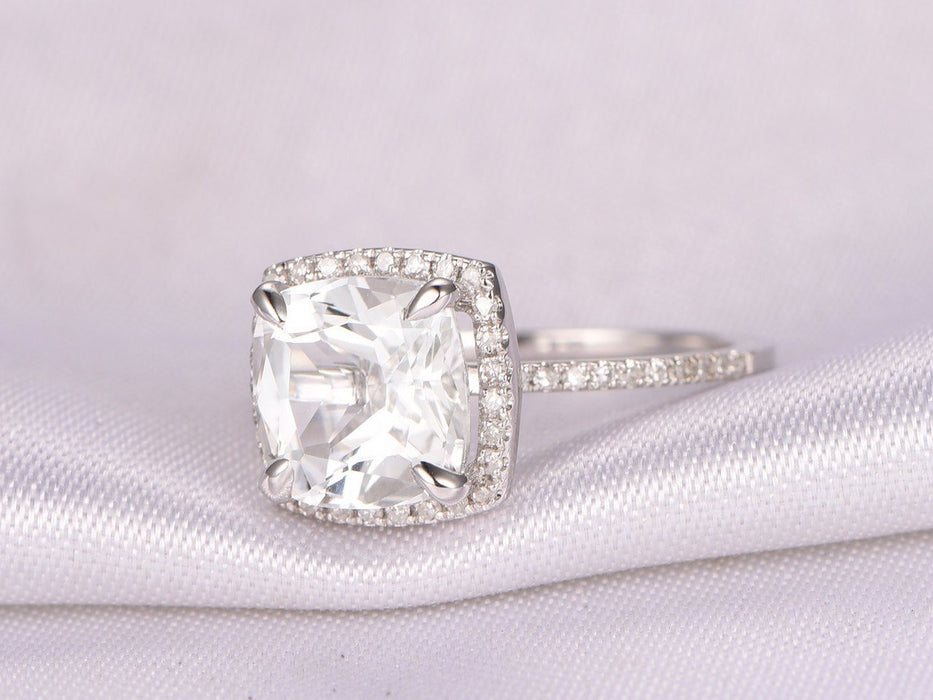 1.50 Carat Cushion Cut White Topaz and Diamond Halo Engagement Ring in White Gold