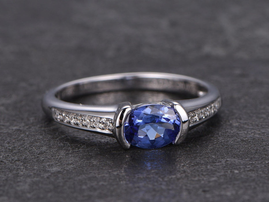1.25 Carat Oval Tanzanite Diamond Engagement Rings in White Gold