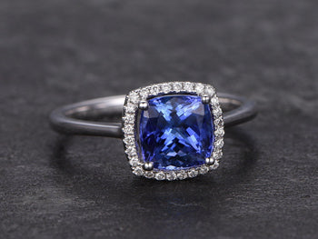 1.25 Carat Cushion Cut Tanzanite Diamond Halo Engagement Ring in White Gold