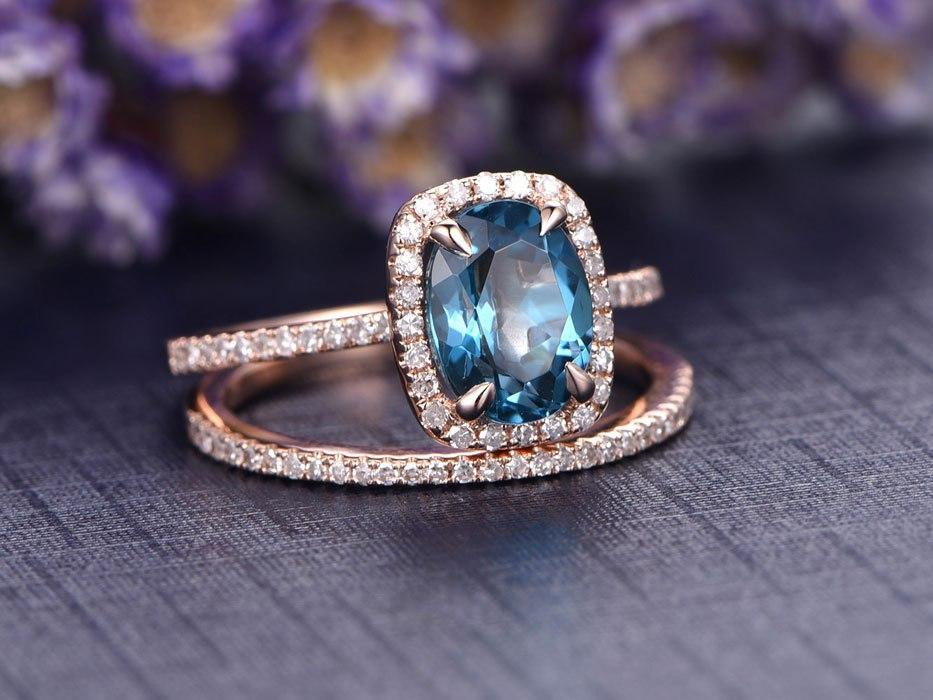 2 Carat Oval Cut London Blue Topaz and Diamond Halo Wedding Ring Set in Rose Gold