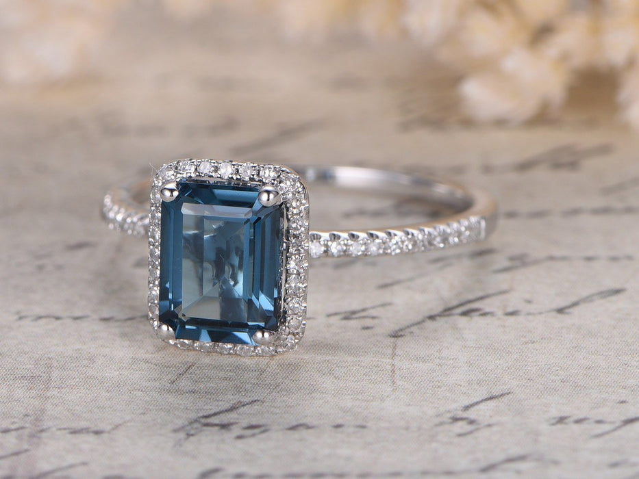 1.50 Carat Emerald Cut London Blue Topaz Engagement Ring in White Gold