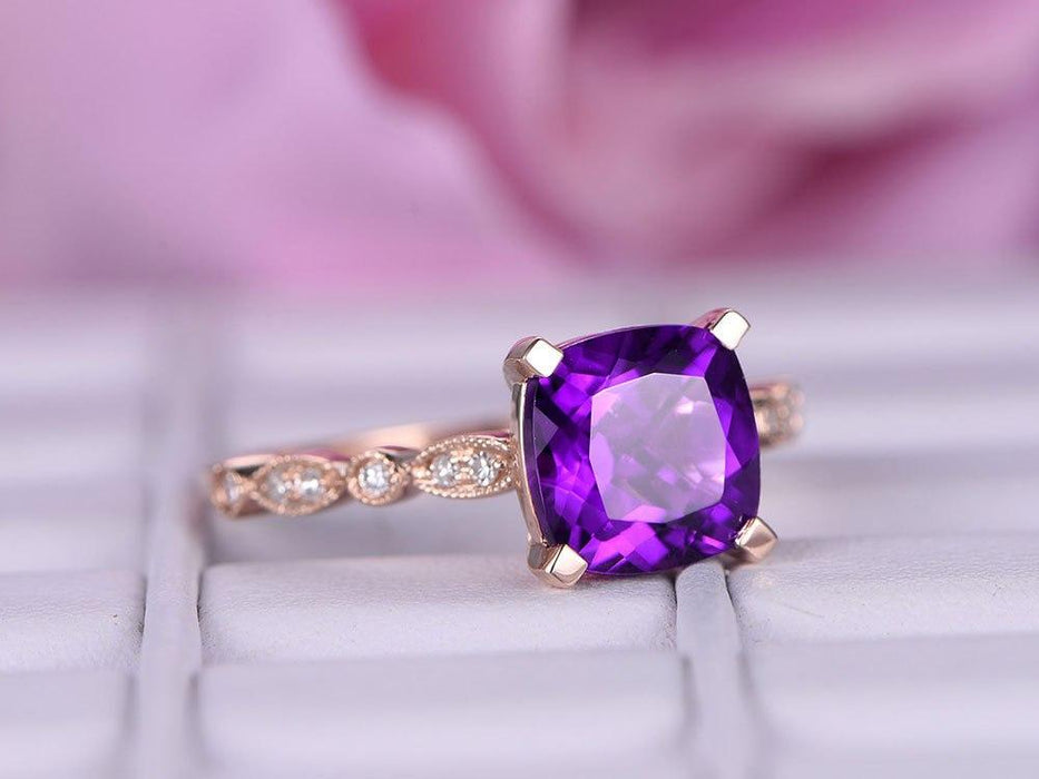 1.25 Carat Cushion Amethyst and Diamond Half Eternity Engagement Ring in Rose Gold