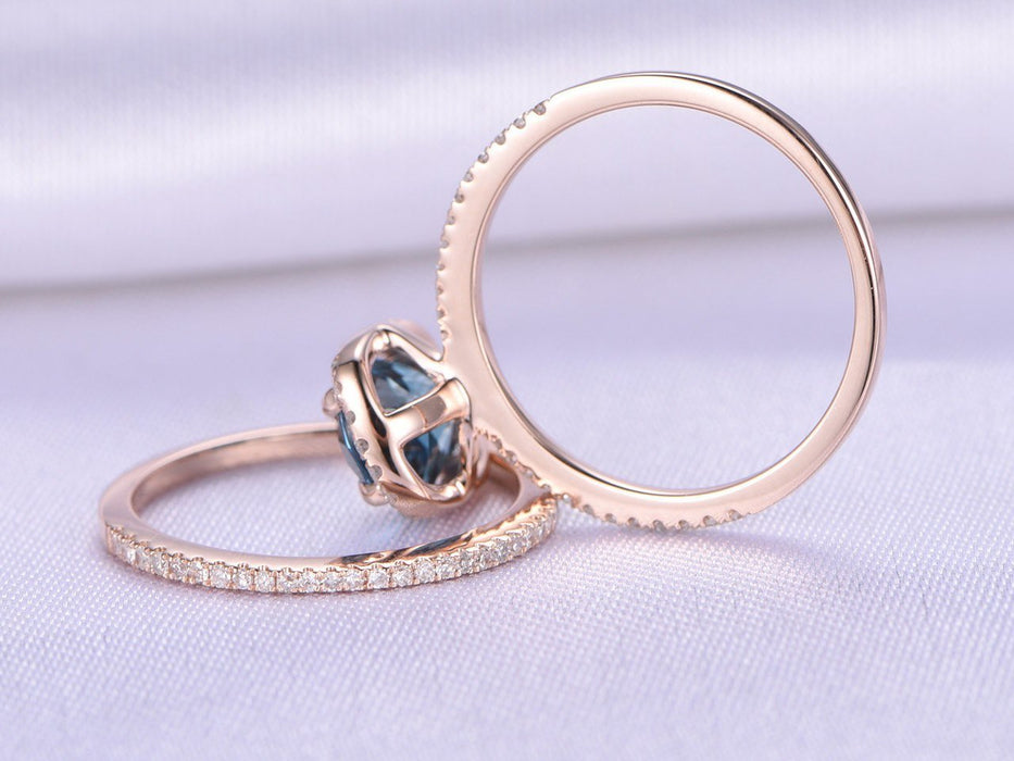 1.50 Carat Oval London Blue Topaz and Diamond Wedding Ring Set in Rose Gold