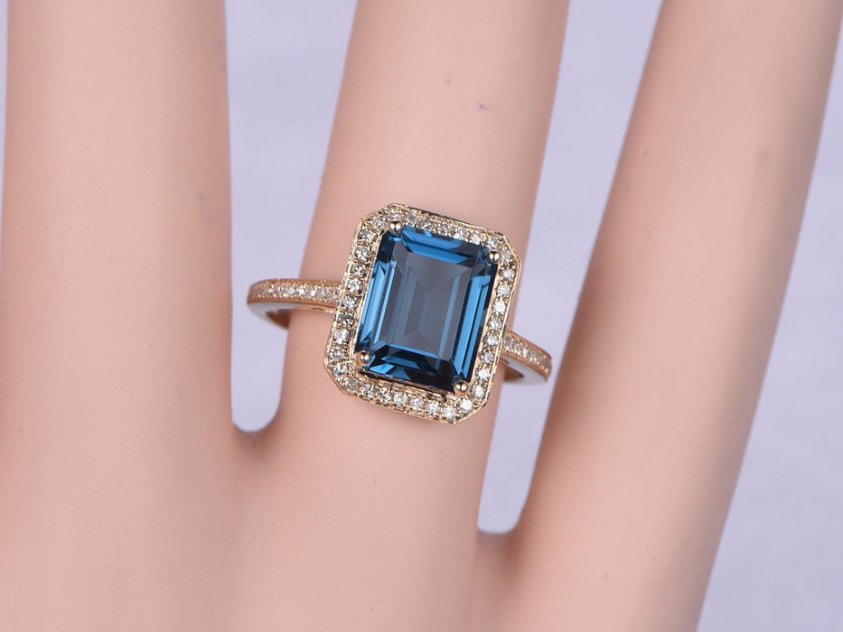 1.25 Carat Emerald Cut London Blue Topaz and Diamond Split Shank Half Eternity Engagement Ring in Rose Gold