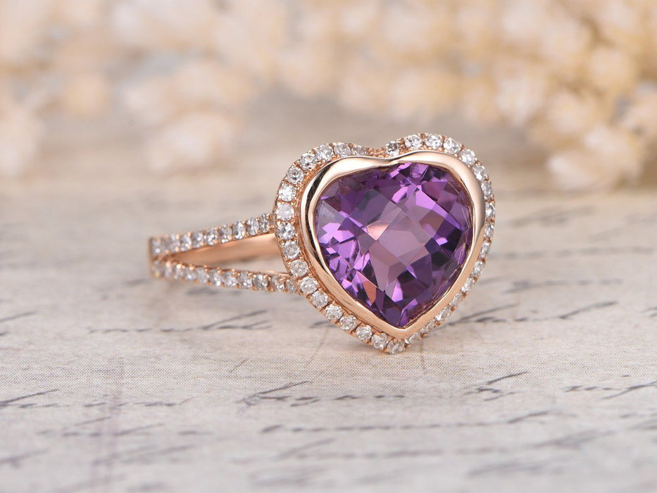 1.50 Carat Heart Shape Amethyst and Diamond Halo Split Shank Engagement Ring in Rose Gold