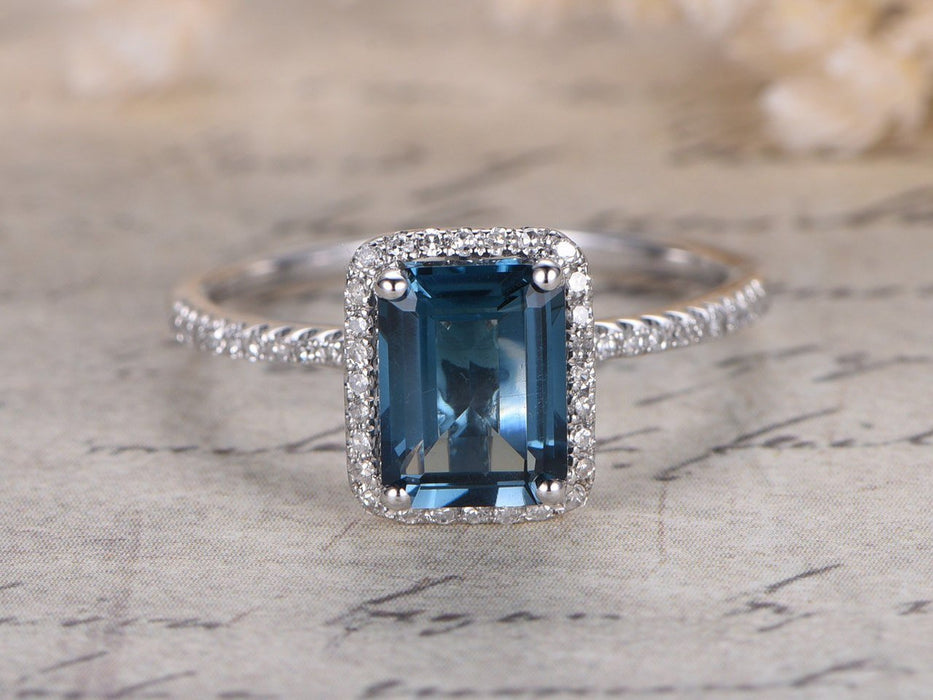 1.50 Carat Emerald Cut London Blue Topaz and Diamond Halo Ball Prongs Engagement Ring in White Gold