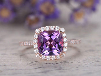 Big 1.50 Carat Cushion Amethyst and Diamond Halo Half Eternity Engagement ring in Rose Gold