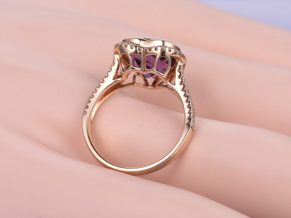 1.50 Carat Heart Shape Amethyst and Diamond Split Shank Engagement Ring in Yellow Gold