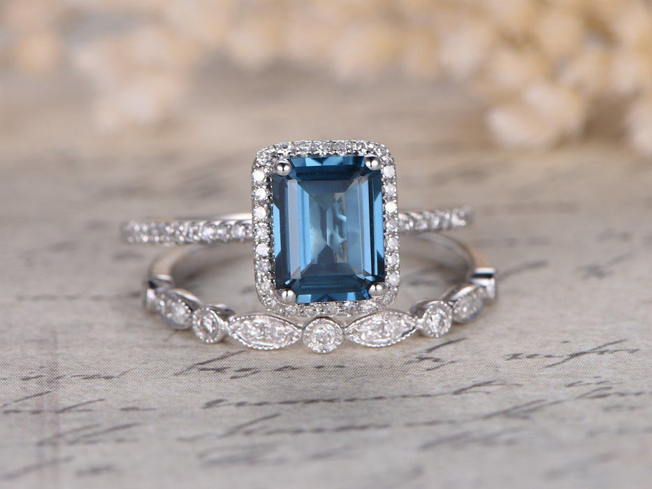 2 Carat Emerald Cut Blue Topaz and Diamond Halo Art Deco Wedding Ring Set in White Gold