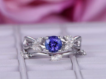 1.50 Carat Round Tanzanite and Marquise Cut Diamond Floral Wedding Ring Set in White Gold