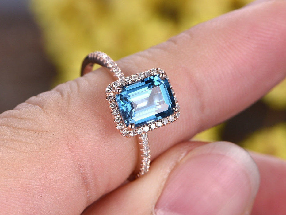 1.50 Carat Emerald Cut London Blue Topaz Engagement Ring in Rose Gold