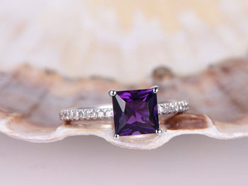 1.25 Carat Princess Amethyst and Diamond Engagement Ring in White Gold