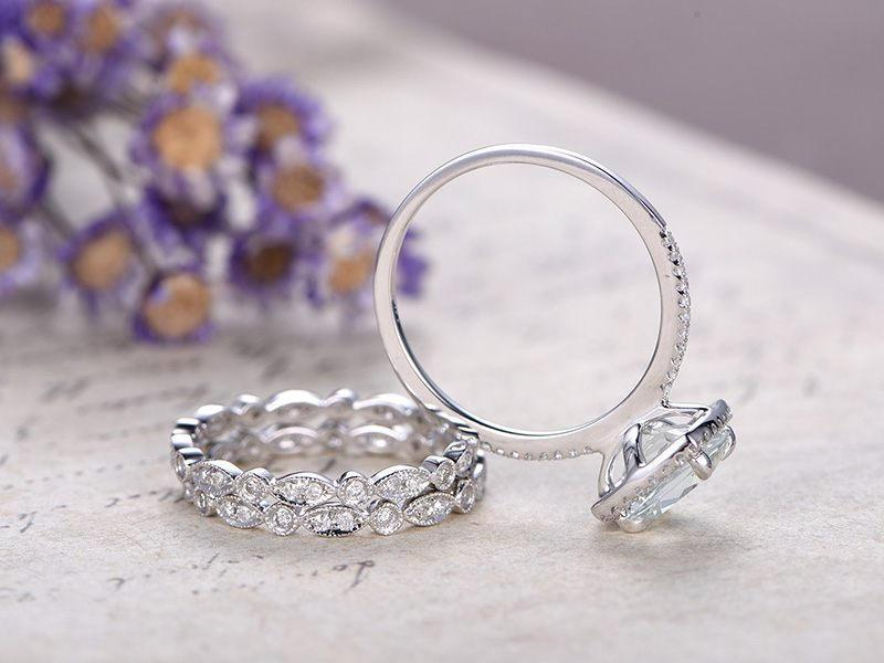 2 Carat Cushion White Topaz and Diamond Trio Wedding Bridal Ring Set in White Gold