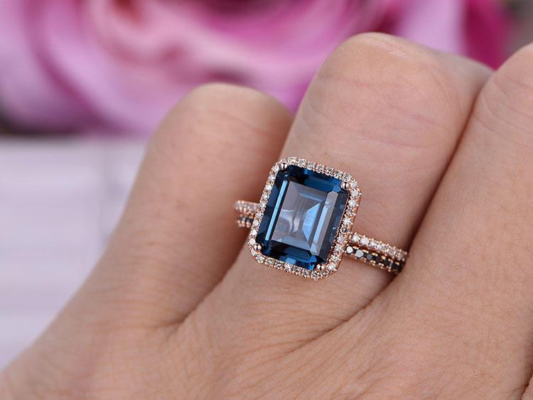 1.50 Carat Emerald Cut London Blue Topaz and Diamond Halo Half Eternity Wedding Ring Set in Rose Gold