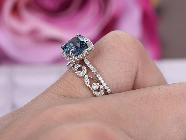 1.50 Carat Cushion Cut London Blue Topaz and Diamond Halo Half Eternity Floral Engagement Ring in White Gold