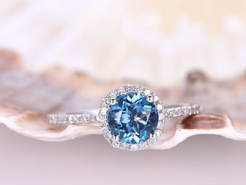 1.50 Carat Round Cut London Blue Topaz and Diamond Halo Engagement Ring in White Gold
