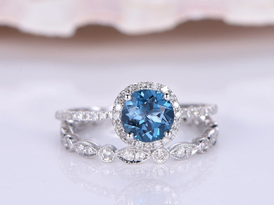 1.50 Carat Round Cut London Blue Topaz and Diamond Art Deco Wedding Ring Set IN White Gold