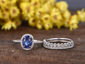2.50 Carat Oval Cut Tanzanite Diamond Art Deco Trio Ring Set in White Gold