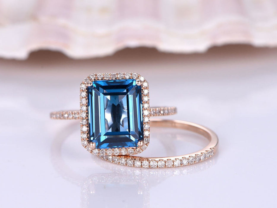 2 Carat Emerald Cut London Blue Topaz and Diamond Halo Half Eternity Wedding Ring Set in Rose Gold