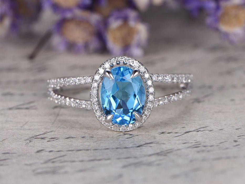 2 Carat Oval Cut Sky Topaz and Diamond Engagement Ring in White Gold