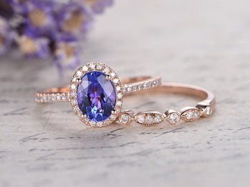 1.50 Carat Oval Cut Tanzanite Diamond Halo Art Deco Half Eternity Wedding Ring Set in Rose Gold