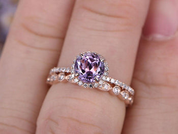 Bestselling 2 Carat Round Cut Amethyst and Diamond Bridal halo Art Deco Bridal Ring Set in Rose Gold