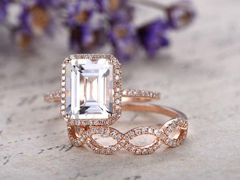 2.50 Carat Emerald Cut White Blue Topaz and Diamond Halo Split Shank Engagement Ring in Rose Gold