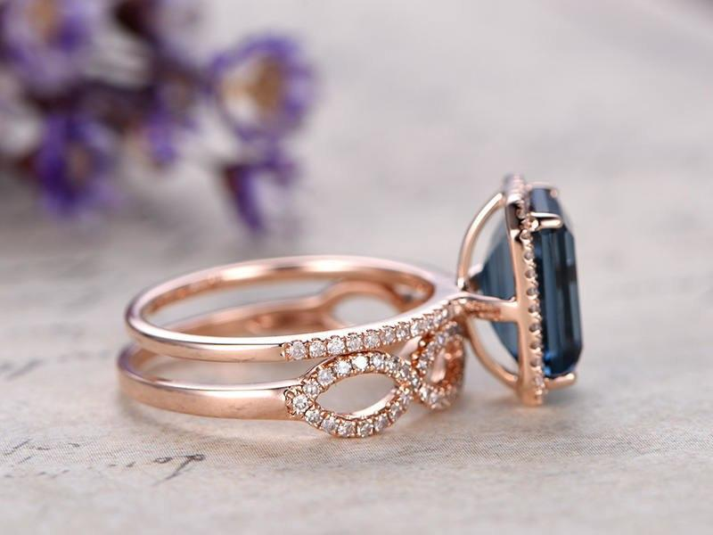 2 Carat Emerald Cut London Blue Topaz and Diamond Halo Split Shank Wedding Ring Set in Rose Gold