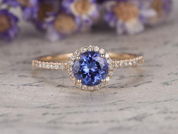 1.50 Carat Round Tanzanite Diamond Halo Half Infinity Engagement Ring in Yellow Gold