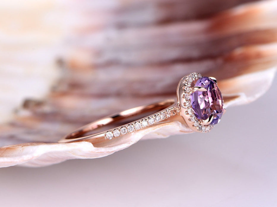1.50 Carat Amethyst and Diamond Halo Engagement Ring in Rose Gold