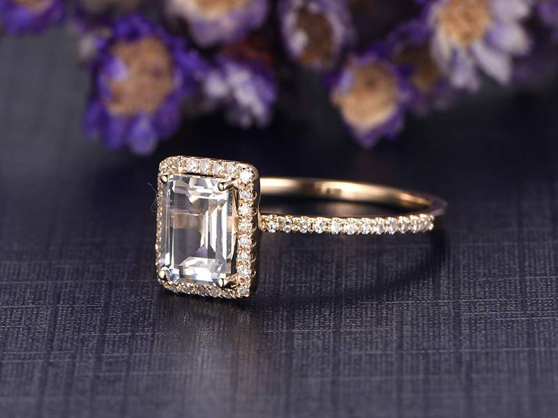 1.50 Carat Emerald Cut White Topaz and Diamond Halo Half Infinity Engagement Ring in Yellow Gold